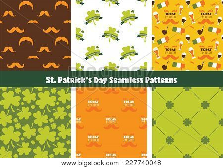 Set Of Seamless Background Patterns For St Patrick S Day. Perfect For Wallpapers, Pattern Fills, Web