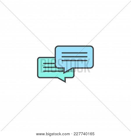 Chat Icon Vector Isolated On White Background, Flat Line Outline Design Dialog Bubble Speech Symbol,