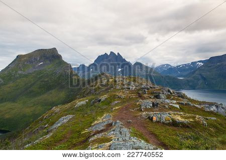 View From The Segla Mountain At Sunset, Senja Island, Norway