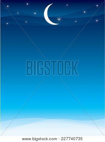 Moon And Stars Skyline For Ramadan And Eid