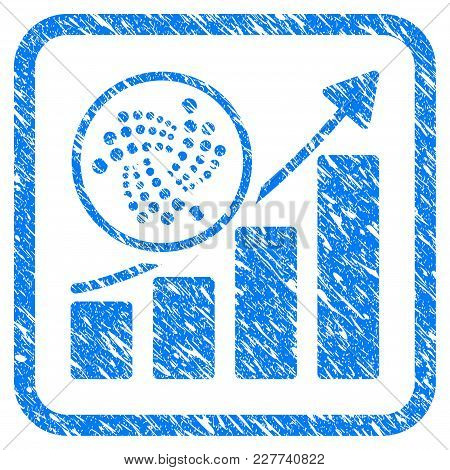Iota Trend Up Chart Rubber Seal Stamp Imitation. Icon Vector Symbol With Grunge Design And Dirty Tex