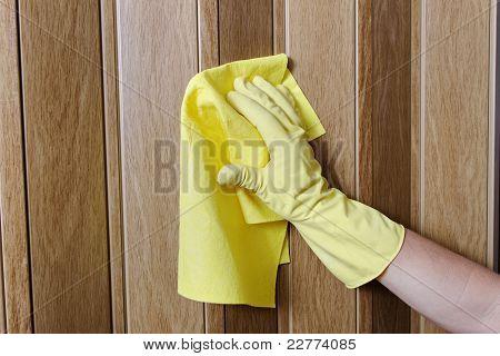 Hand cleanind door.