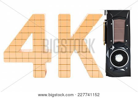 4k High Resolution, Computer Video Card Gpu, 3d Rendering Isolated On White Background