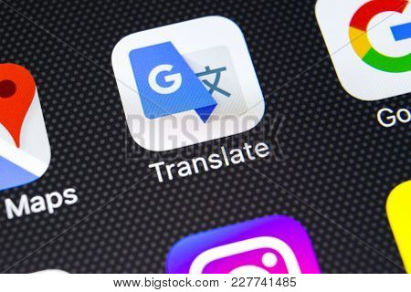 Sankt-petersburg, Russia, February 21, 2018: Google Translate Application Icon On Apple Iphone X Scr