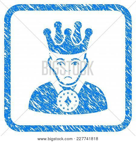 King Rubber Seal Stamp Imitation. Icon Vector Symbol With Grunge Design And Dust Texture Inside Roun