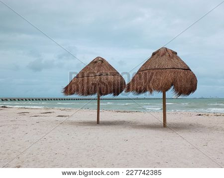 The Longest Pier In The World. The Port City Of Progreso, In The Mexican State Of Yucatan. Mexico