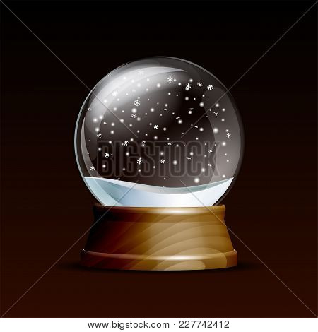 Snow Globe With Falling Snowflakes. Realistic Transparent Glass Sphere On Wooden Pedestal. Magic Gla