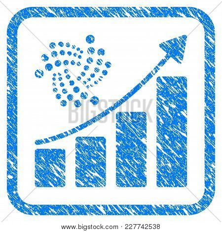 Iota Grow Up Chart Rubber Seal Stamp Imitation. Icon Vector Symbol With Grunge Design And Corrosion