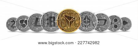 Set Of Gold And Silver Crypto Currencies With Golden Tron In Front Of Other Crypto Currencies As Lea