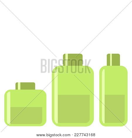 Spa Cosmetic Gel Green Flat Icon On White Background. Vector Illustration Eps10