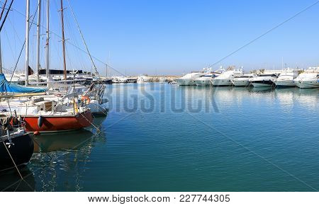 Summer Time Beautiful Sailboats And Yachts Moored In Glyfada Port, Athens, Greece. Horizontal.