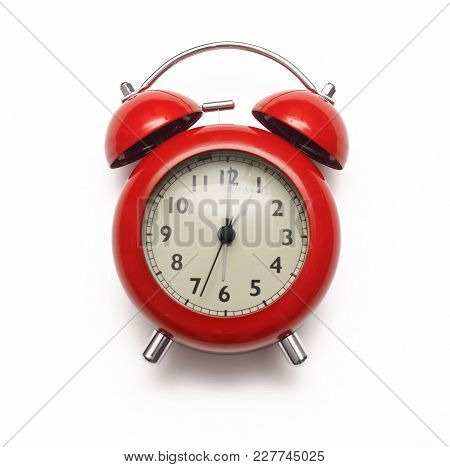 Red Alarm Clock Isolated On White Background. Front View. Time To Lunch Break.