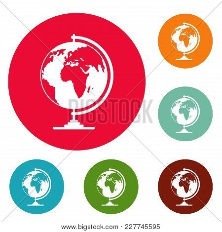 Geography Icons Circle Set Vector Isolated On White Background