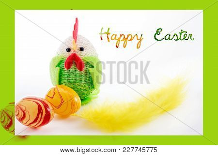 Happy Easter. Colorful Easter Chick, Eggs And Yellow Feather