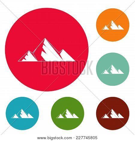 Mountain Peak Icons Circle Set Vector Isolated On White Background