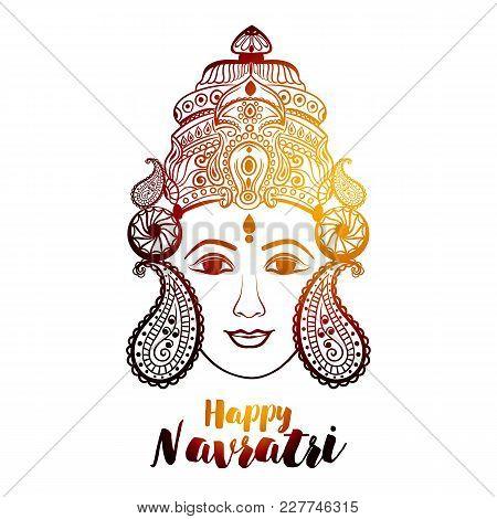 Beautiful Face Of Maa Durga On Decorative Background For Hindu Festival Navratri.