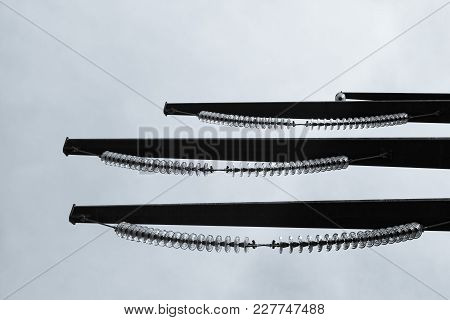 Mega-voltage Transmission Line Towers Seen From Below