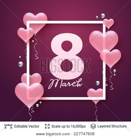 Pink Heart Shaped Balloons And Frame Composition. Editable Vector Background.