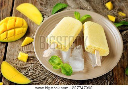 Creamy Mango Ice Cream With Fresh Mangoes And Ices