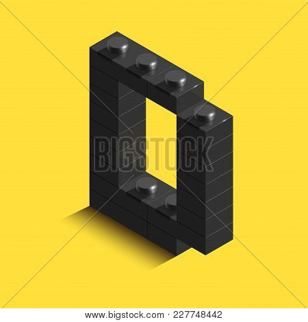 Realistic Black 3D Isometric Letter Of The Alphabet From Constructor Bricks. Black 3D Isometric Plas