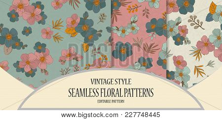 Set Of Colorful Seamless Pattern - Flowers In Vintage Style, Spring, Cherry, Apple Tree In Bloom - V