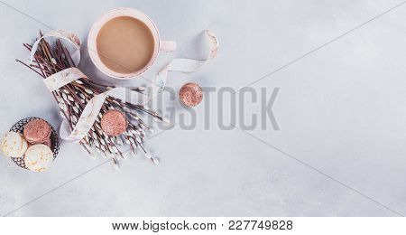 Pink Coffee Mug With Sweet Pastel French Macaroons And Pussy Willow