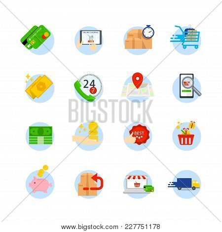 Set Of E-commerce Vector Flat Icons. Icons As Shop, Shopping Bag, Sale, Wallet, Basket, Return, Onli