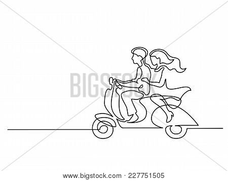 Continuous Line Drawing. Happy Couple Driving On Scooter. Vector Illustration