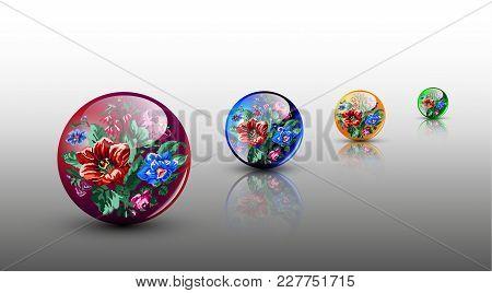3d сolorful Glassy Spheres With Flowers In Ukrainian Ethnic Motif.