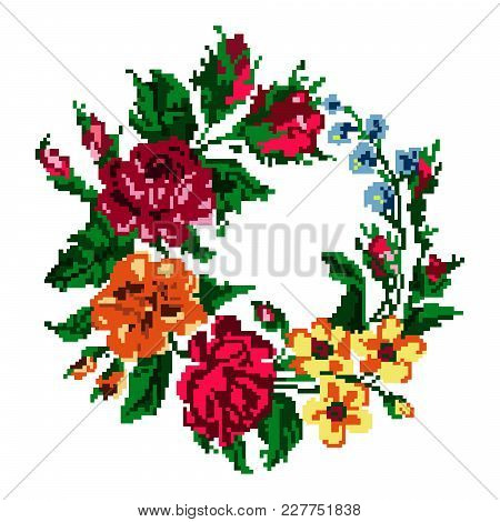 Wallpapers Or Textile. Color Circle  Bouquet Of Flowers (roses, Chamomile And Cornflowers) Using Tra