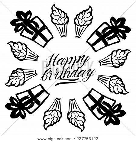Happy Birthday Greeting Card Vector Lettering Illustration