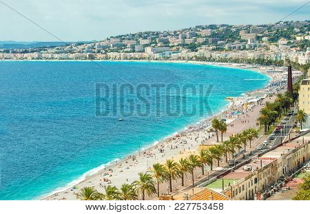 French Riviera, Mediterranean Sea. Promenade Des Anglais, Nice, Cote Dazur