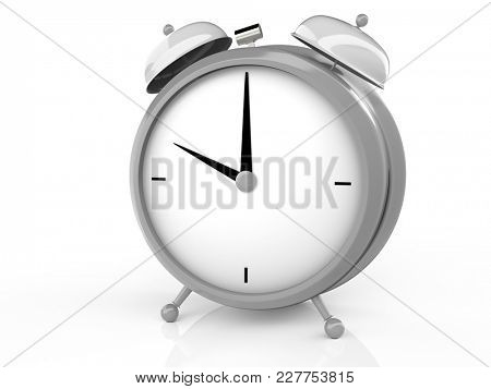 Alarm clock on white background. 10 O'Clock, am or pm. 3D rendering
