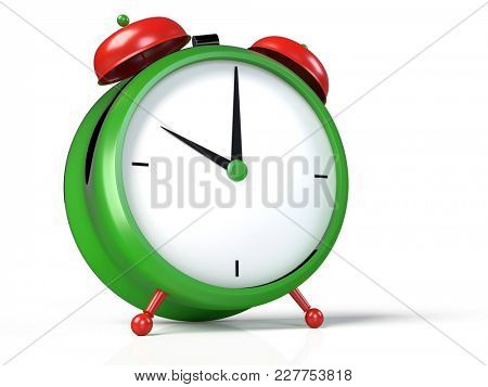 Closeup view of colorful alarm clock on white background. 10 O'Clock, am or pm. 3D rendering