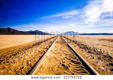 View On Railway Line In The Altiplano Of Bolivia