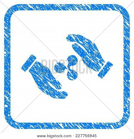 Ripple Insurance Hands Rubber Seal Stamp Imitation. Icon Vector Symbol With Grunge Design And Dirty