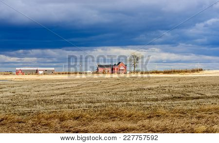 A Yellow Beveled Field, A Red Farmhouse With A Car, A Withered Tree, A Barn And A Blue Sky With Heav