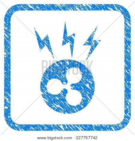 Ripple Lightnings rubber seal stamp imitation. Icon vector symbol with grunge design and corrosion texture in rounded rectangle. Scratched blue sign on a white background. poster