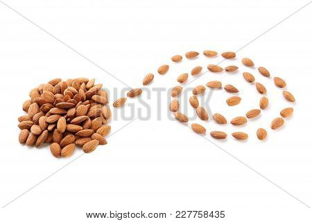 Ripe Almonds Isolated On A White Background