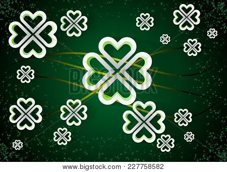 Green Background With Four Leaf Clovers, St. Patrick S Day Background Vector Illustration 10 Eps