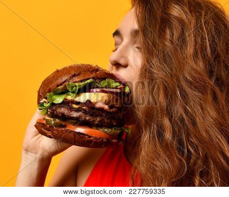 Woman Eat Burger Sandwich With Hungry Mouth On Yellow Background. Closeup Composition Of Fast Food C