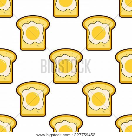Vector Seamless Pattern With Toasts And Fried Eggs. Cartoon Toasts With Fried Eggs Background. Flat