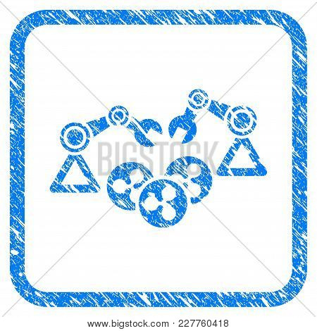 Ripple Mining Robotics Rubber Seal Stamp Watermark. Icon Vector Symbol With Grunge Design And Dust T