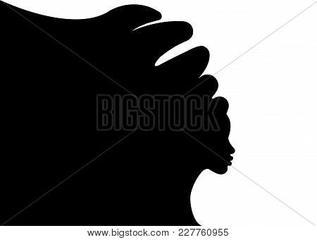 Hairstyle Concept With Beautiful Long Hair Girl, Black Women Vector Silhouette. Design Concept For B