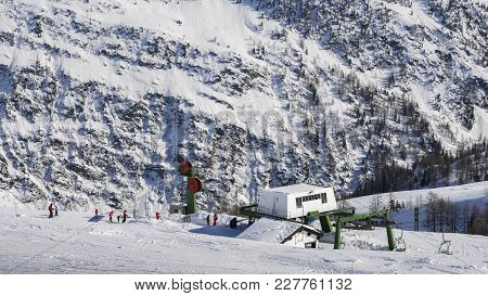 Chairlift In The Ski Resort Of La Thile In The Italian Alps Region Of Valle D'aosta