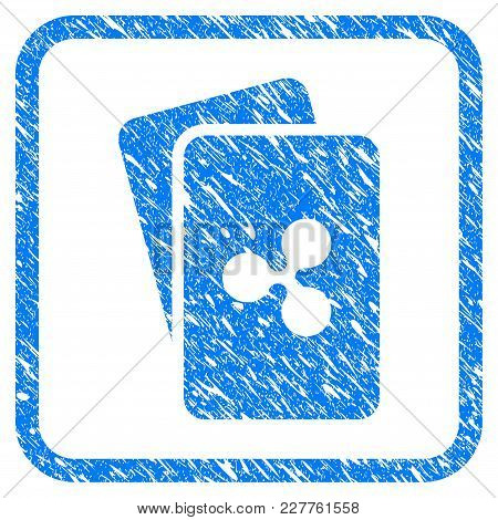 Ripple Cards Rubber Seal Stamp Watermark. Icon Vector Symbol With Grunge Design And Corrosion Textur