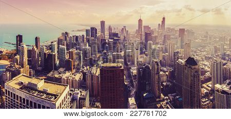Huge Beautiful Aerial View Panorama Of Chicago Cityscape During Sunset That Shows Skyscrapers, Lake