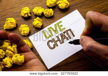 Word, Writing Live Chat . Concept For Communication Livechat Written On Notebook Note Paper On Woode