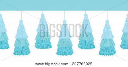 Vector Layered Blue Decorative Tassels Set Horizontal Seamless Repeat Border Pattern. Great For Hand