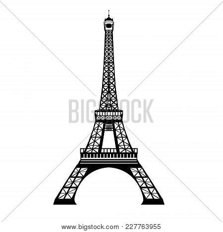 Vector Ink Black Eifel Tower Hand Drawn Landmark Symbol Of Paris, France. Great For French Invitatio
